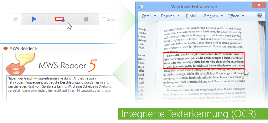 Text in Sprache mit integrierter Texterkennung (OCR)