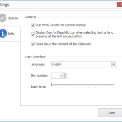 MWS Reader settings