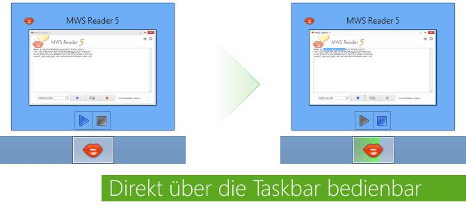 Direkt über die Taskbar bedienbar
